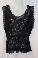 RAIN Women's Blouse Sleeveless Black Lace Elastic Waist Scoop Neck Sexy Size Med
