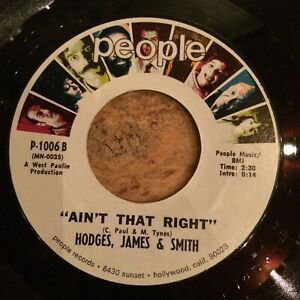 HEAR 1970 NORTHERN SOUL DANCER - HODGES,JAMES & SMITH - AIN'T THAT RIGHT -PEOPLE