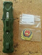 ORIGINAL RARE CHINESE PRC POLICE DAGGER RETRACTABLE BLADE KNIFE & BERET BADGE