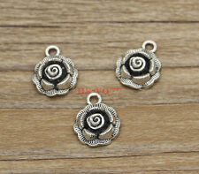 20 Rose Flower Charms Floral Garden Charms Antique Silver Tone 14x17mm 1054