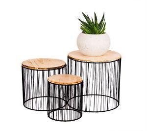 3er Set Blumenständer Pflanzen Säulen Beistelltisch für Deko Metall Holz Hocker
