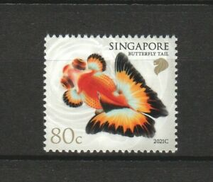 SINGAPORE 2021 GOLDFISH 80 CENTS BUTTERFLY TAIL 2021C 2ND REPRINT 1 STAMP MINT