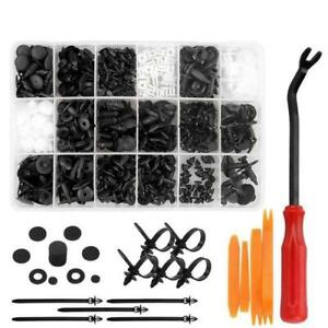 415pcs Plastic Rivets Clips Fastener Fender Bumper Push Pin with Remover Tool