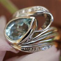 Aquamarin Brillant Ring 900er Platin