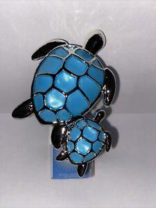Bath Body Works NWT 2021 Turtle Pair Wallflower Plug Nightlight Blue Mom Baby