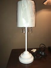 NEW Table Lamp with Fabric Shade and Hanging Acrylic Beads, White