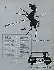PUBLICITE HUILE SHELL X-100 MOTOR OIL CHEVAL SIGNE VERNIER DE 1956 FRENCH AD PUB