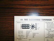 1968 Oldsmobile Toronado EIGHT Series Models 455 CI V8 4BBL Tune Up Chart
