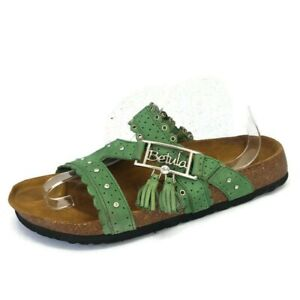 BIRKENSTOCK BETULA Green Leather Tasseled Jeweled Strappy Sandals 41 EU 10US