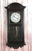 Westminster Chine Quartz Wall Clock Wooden Glass Pendulum Hard Wood TESTED