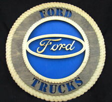 """Wooden FORD Truck Wall Plaque 11"""" Round Laser Cut Wood Hand Made Garage Decor"""