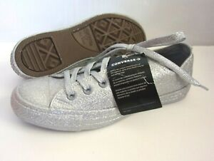 Converse Chuck Taylor All Star Womens Sz 8 Silver Glitter Low Top Shoes 162994C