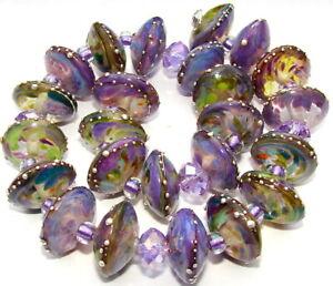"Sistersbeads ""P-Summer Orchid"" Handmade Lampwork Beads"