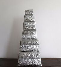 Boxes, storage, decorative, organise, aluminum, large, sq, (6 in 1), gift, decor
