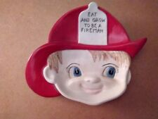 Blue-Eyed Firemans Face kids' ceramic display Plate Eat and Grow to be a Fireman