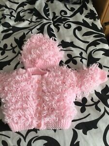 Beautiful Baby Girls Loopy Hand Knitted Set 0-3 Months
