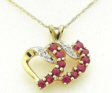 """DOUBLE HEART RUBY & DIAMOND PENDANT w/ 20"""" LONG CHAIN REAL SOLID 10 k GOLD 1.6 g"""