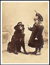Flat Coated Retriever Little Girl And Dog With Hat And Pipe Lovely Print Poster