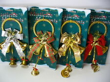 "LOT OF 4 DOOR & WALL HANGER BELLS 10"" INDOOR OUTDOOR CHRISTMAS DECOR FREE SHIP"
