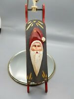 Midwest of Cannon Falls Carved Wooden Sled Santa Holiday Christmas Tree Ornie008