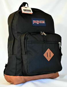 NWT JANSPORT City View Backpack Leather Bottom BLACK Free Shipping