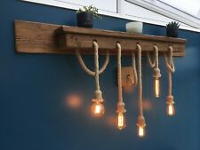 Thunberg Rustic Industrial Wall Shelf with Rope  Light Pendants - Reclaimed Wood