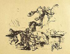 HEINRICH GRAF VON LUCKNER - Pferdetränke - Lithografie 1947