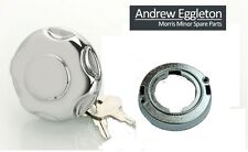 MORRIS MINOR CHROME PETROL LOCKING FUEL CAP ASSEMBLY