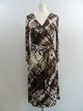 Pure Collection 100% Silk Brown and Cream Wrap Dress Ladies Size 8 Box42 41 D
