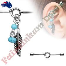 Surgical Steel Industrial Barbell with Turquoise Beads and Tribal Feather Dangle