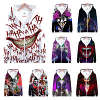 NEW Haha joker 3D Print zip Sweatshirt Hoodie Men and women Hip Hop Pullover Top