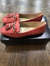 $119 NEW WITH BOX TALBOTS LEATHER HARVEST ORANGE BECCA LOAFERS FLATS SIZE US 8M
