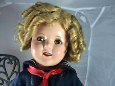 "1930s Composition Ideal Shirley Temple Tagged Captain January 18"" Clear Eyes!"