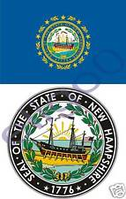NEW HAMPSHIRE State Flag + SEAL 2 stickers decals USA