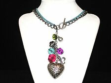 Silver Chain~ Leather Bead Heart Toggle Necklace w/ Dangle Earrings New