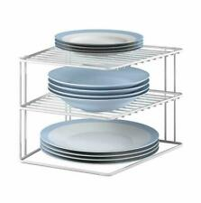 3 TIER CORNER PLATE RACK WHITE COATED WIRE KITCHEN TIDY STORAGE PLATES ORGANISER