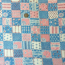 "Vintage Full Feed Sack Old Time Pink, Blue, Red Cheater Design  44"" x 37"""