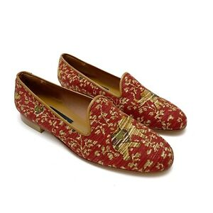 ZALO Womens Red Elephant Floral Tapestry Smoking Loafers Flats Size 8 NEW