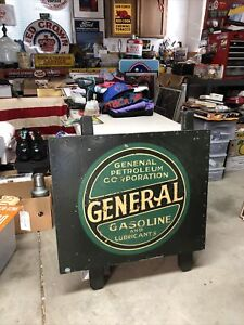 """Original Pre 1920 General Gasoline Painted Metal Gas Sign 30""""X25"""" Authenticated"""