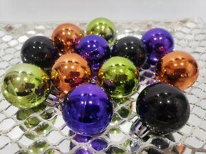 "(12) Halloween Orange Purple Black MINI Plastic Tree Ornaments Decorations 2"""