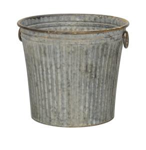 Large Round Galvanised Ribbed Zinc Metal Bucket Planter Plant Flower Pot Garden
