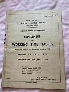 1960 Railway Working Timetable Supplement LMR (Western) Freight Train Alteration