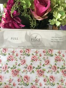 S.L Home Fashions Isabelle Shabby Chic Pink Flowers Full Sheet Set 4PC NIP