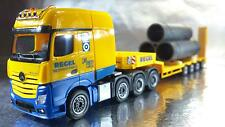 "* Herpa 306027-AA MB Actros SLT Low Boy Semitrailer ""Regel"" Pipe Load 1:87 Scale"