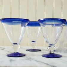 Set of 3 Mexico Blown Glass Cobalt Blue Rim and Base Tall Wine Water Goblet