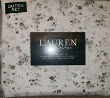 RALPH LAUREN Cream Taupe Floral Queen Sheet Set Ex Deep Fitted Sheet Brown MIP