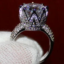 Amazing 8ct CZ White Topaz Zircon 925 std CROWN Platinum Plated Ring Size N1/2