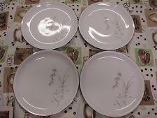 "4 Saladmaster Bavaria Germany Fantasy Salad Dessert Plates 8"" Platinum Ring"