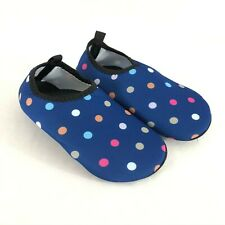 Toddler Girls Water Shoes Slip On Fabric Lightweight Polka Dot Blue Size 11.5-12