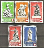 DR Nazi WWII Switzerland Rare Stamps 1940 MNH Full Set National Bundeswehr Red C